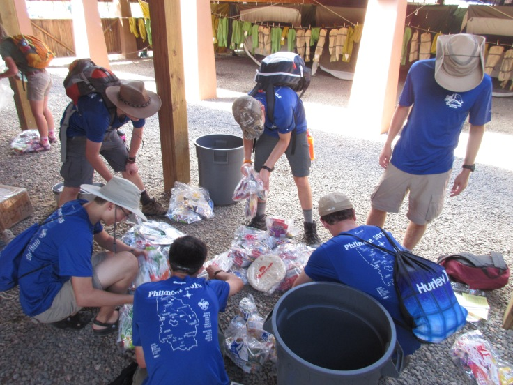 Sorting our Food Bags at Base Camp