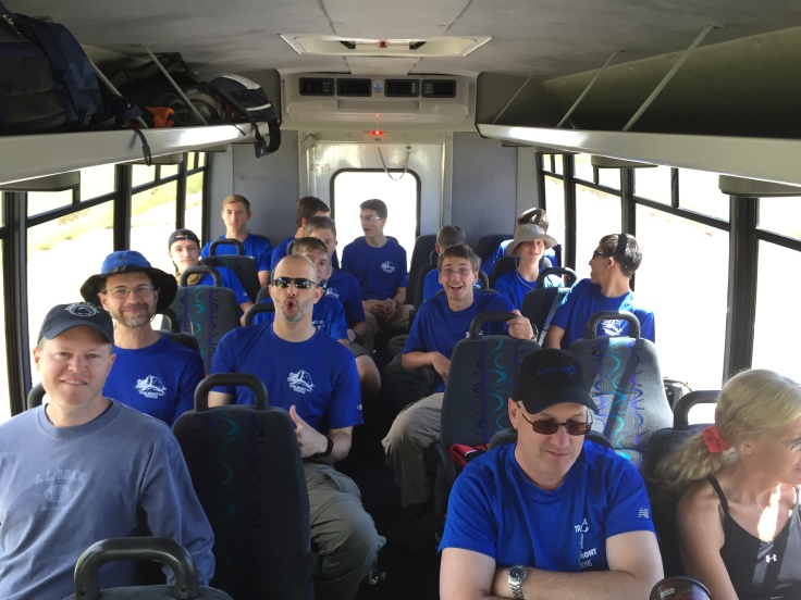 Inside our Bus to Philmont